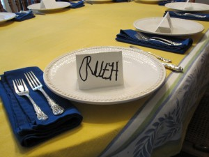 My place card at the dinner table